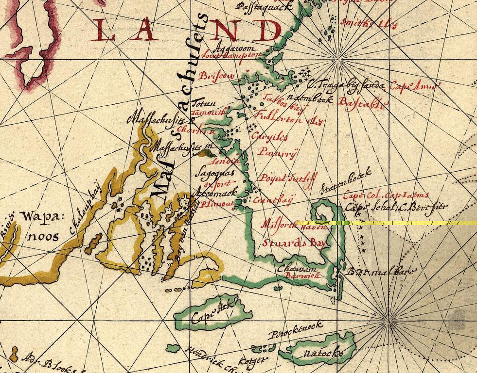 1639 Map of New England by Joan Vinckeboons