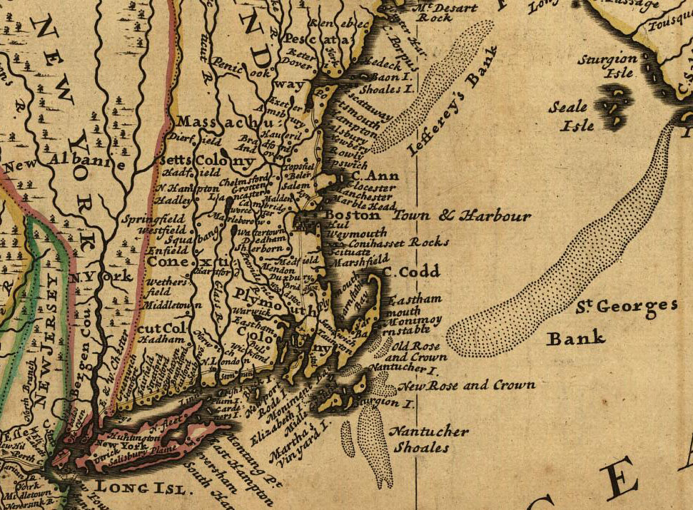 1732 Map of New England by T. Bowles