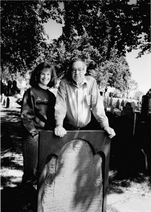 James Deetz with Nancy Brennan at Burial Hill Cemetery