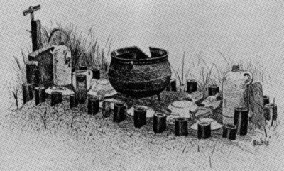 Rendering of a Congo Chieftain's grave, from E. J. Glave, Century Magazine, Vol. 41, p. 827 (1891), in J. M. Vlach, By The Work of Their Hands: Studies in Afro-American Folklife, p. 44, 1991