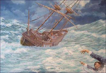 The rescue of John Howland during the voyage of the Mayflower, by Mike Haywood