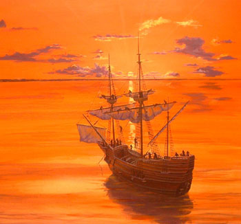 Mayflower at Dawn, Nov. 11, 1620, by artist Mike Haywood