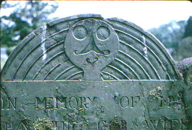 Plympton County gravestone depicted as Stone 15 in Figure 3 of study entitled Death's Head, Cherub, Urn and Willow