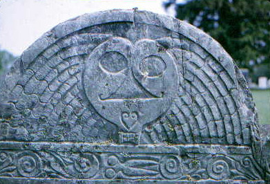 Plympton County gravestone depicted as Stone 3 in Figure 3 of study entitled Death's Head, Cherub, Urn and Willow