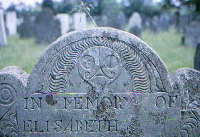 Plympton County gravestone depicted as Stone 6 in Figure 3 of study entitled Death's Head, Cherub, Urn and Willow